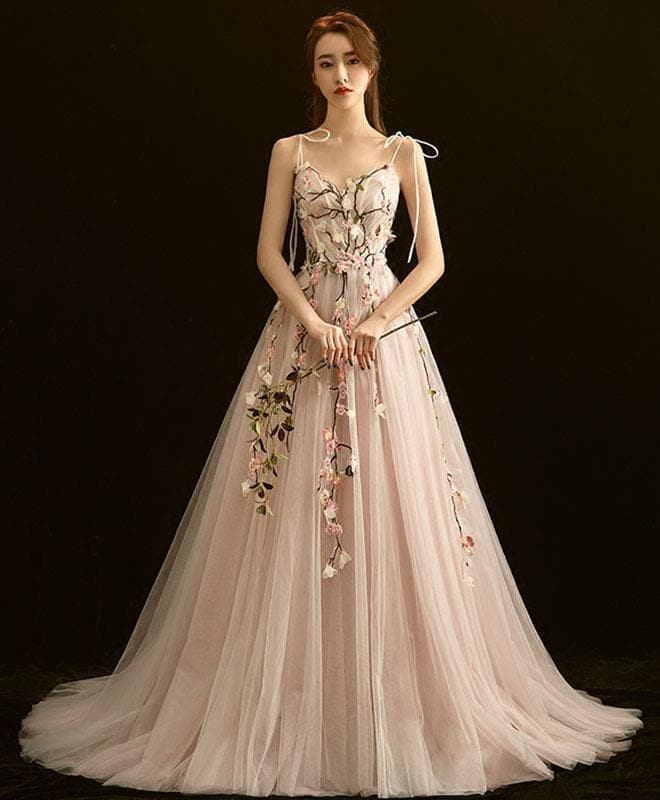 High Quality V Neck Lace Long Prom Dress, Light Pink Evening Dress - DelaFur Wholesale