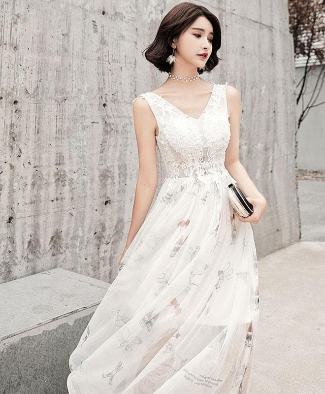 White V Neck Lace Tulle Long Prom Dress, Evening Dress - DelaFur Wholesale