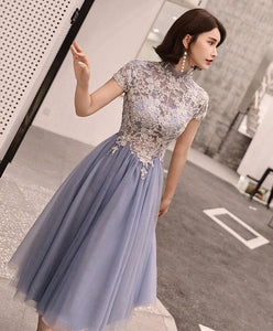 Gray Round Neck Tulle Lace Short Prom Dress, Homecoming Dress - DelaFur Wholesale