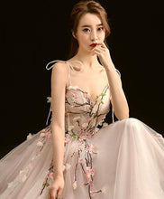 Load image into Gallery viewer, High Quality V Neck Lace Long Prom Dress, Light Pink Evening Dress - DelaFur Wholesale