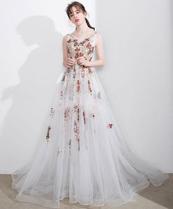 White A Line Lace Tulle Floor Length Prom Dress, White Evening Dress - DelaFur Wholesale