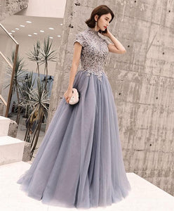 Gray Round Neck Tulle Lace Long Prom Dress, Evening Dress - DelaFur Wholesale