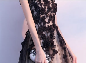 Black Tulle Round Neck Long Prom Dress,Black Evening Dress - DelaFur Wholesale