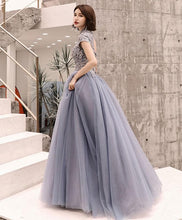 Load image into Gallery viewer, Gray Round Neck Tulle Lace Long Prom Dress, Evening Dress - DelaFur Wholesale