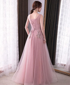 Pink Round Neck Tulle Long Prom Dress, Lace Evening Dress - DelaFur Wholesale