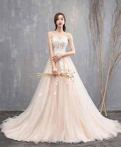 High Quality Champagne Long Prom Dress With Long Train, Lace Evening Dress - DelaFur Wholesale