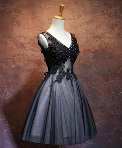 Black V Neck Lace Short Prom Dress, Black Evening Dress - DelaFur Wholesale