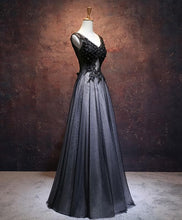 Load image into Gallery viewer, Blace V Neck Lace Tulle Long Prom Dress, Black Evening Dress - DelaFur Wholesale