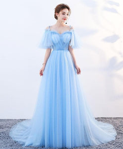 Stylish Sky Blue Tulle Long Prom Dress, Evening Dress - DelaFur Wholesale
