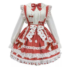 Load image into Gallery viewer, White Shirt Bow Tie with Red Dot Sweet Lolita SK Dress SS1087