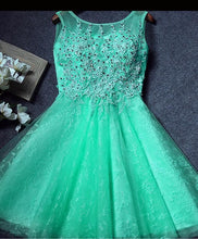 Load image into Gallery viewer, Cute Round Neck Lace Short Prom Dress, Homecoming Dress - DelaFur Wholesale