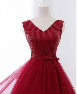 Cute V Neck Sequins Tulle Short Prom Dress, Homecoming Dress - DelaFur Wholesale