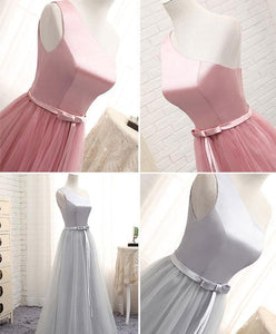 A Line Tulle One Shoulder Long Prom Dress - SpreePicky FreeShipping
