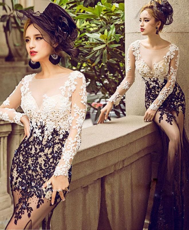 Stylish Lace Tulle Long Prom Dress, Long Sleeve Evening Dress - DelaFur Wholesale