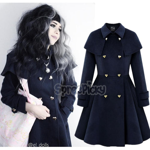 {Free Shipping} Heart Button Double Breast Elegant Midi Woolen Coat Jacket SP168269