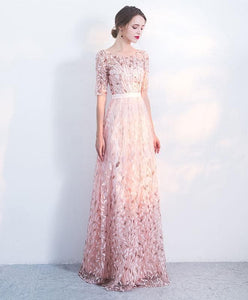 Elegant Pink Sequins Tulle Long Prom Dress, Eveninng Dress - DelaFur Wholesale