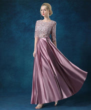 Load image into Gallery viewer, A Line Lace 1/2 Sleeve Long Prom Dress, Lace Evening Dress - DelaFur Wholesale