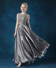 Load image into Gallery viewer, A Line Lace Satin Long Prom Dress, Lace Evening Dress - DelaFur Wholesale
