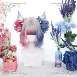 Mixed Color Lolita Cosplay Short Crul Wig SP14843