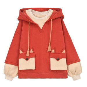 Cute Fox Ears Spliced Hoodie Jumper SP15185