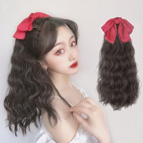 Black/Wine Bowknot Long Ponytail Wig SS0393