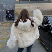 Load image into Gallery viewer, Bear Ears Faux Fur Hooded Coat SP15220
