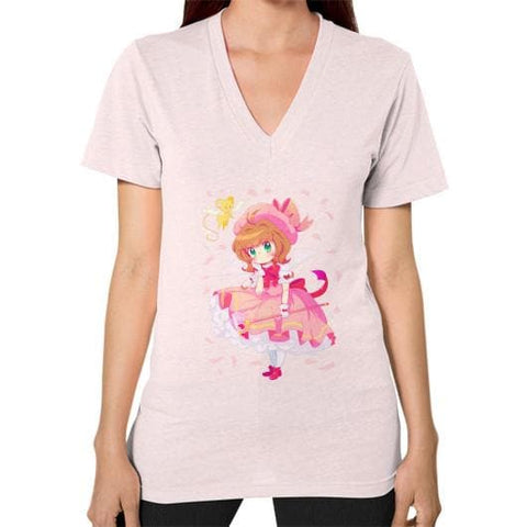 Wonderful Sakura V-Neck Woman Tee Shirt - SpreePicky  - 10