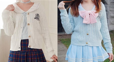 S/M Blue/White School Uniform Cardigan Jacket SP153646 - SpreePicky  - 2