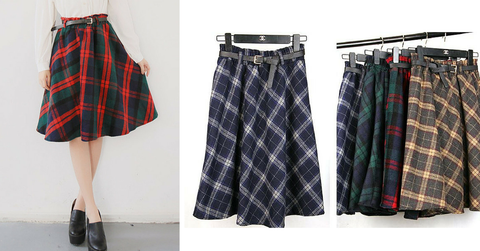 4 Colors England Grids Skirt SP154145 - SpreePicky  - 3