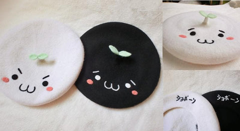White/Black Emoji Beret Hat SP153410 - SpreePicky  - 2