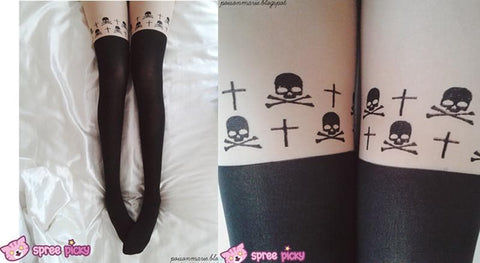 [3 for 2] Gothic Cross Skeletons Skull Fake Over Knee Thigh High Tights SP141374 - SpreePicky  - 2