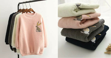 Load image into Gallery viewer, 4 Colors Mori Girl Velvet Jumper With Little Rabbit Printing SP154071 - SpreePicky  - 2