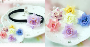 5 Colors Kawaii Rose Choker/ Bracelet/ Anklet with Rose SP164998