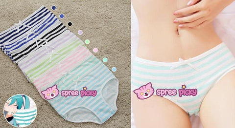 5 Colors Sweet Bowknot Stripe Undies SP153286 - SpreePicky  - 2