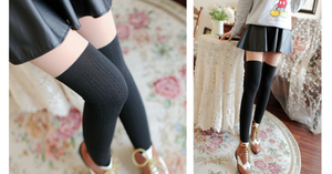 Basic Black Fake Over Knee Thigh High Fleece Footless Tights SP154136 - SpreePicky  - 2