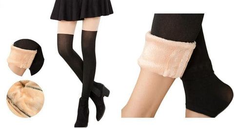 Basic Fake Over Knee Thigh High Fleece Footless Tights SP153990 - SpreePicky  - 2