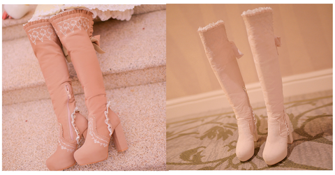 Beige/Light Tan Sweet Bowknot Rough Heels Long Boots SP154417 - SpreePicky  - 3