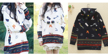 Load image into Gallery viewer, Beige/Navy Mori Girl Cutie Patterns Hoodied Sweater SP154316 - SpreePicky  - 3
