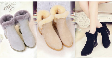 Blabk/Light tan/Grey Winter Woolen Martin Boots SP164731 - SpreePicky  - 2