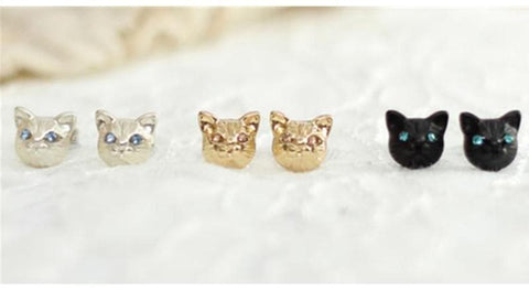 Black/Gold/Silver Cutie Cat Earrings SP153287 - SpreePicky  - 3