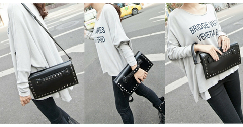 Black/White Rivet Massge Hand Bag/Shoulder Bag SP154298 - SpreePicky  - 2