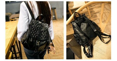 Black Fashion Rivets Backpack SP154299 - SpreePicky  - 2