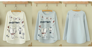 Blue/Beige What A Kitty Daily Life Jumper Shirt SP154313 - SpreePicky  - 2