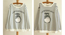 Load image into Gallery viewer, Blue/Navy Stripe Totoro Mori Girl Long Sleeve Jumper SP153463 - SpreePicky  - 2