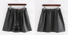 Load image into Gallery viewer, Dark Grey Kawaii Kitten Elastic Waist Skirt SP154035 - SpreePicky  - 2