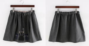Dark Grey Kawaii Kitten Elastic Waist Skirt SP154035 - SpreePicky  - 2