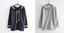 Load image into Gallery viewer, Grey/Navy Kawaii Sailor Collar Long- Sleeve Pullover Shirt SP165115