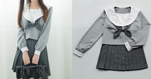 Load image into Gallery viewer, Japanese Grey Sailor Uniform Top/Skirt SP164936/SP164937 - SpreePicky  - 2