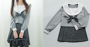 Japanese Grey Sailor Uniform Top/Skirt SP164936/SP164937 - SpreePicky  - 2