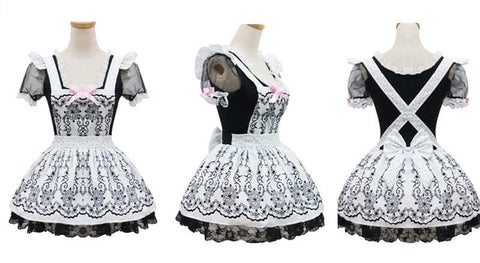 Lolita Retro Floral Lace Princess Maid Dress Cosplay Costume  SP153687 - SpreePicky  - 2